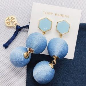Tory Burch TB blue enamel ball drop earrings new